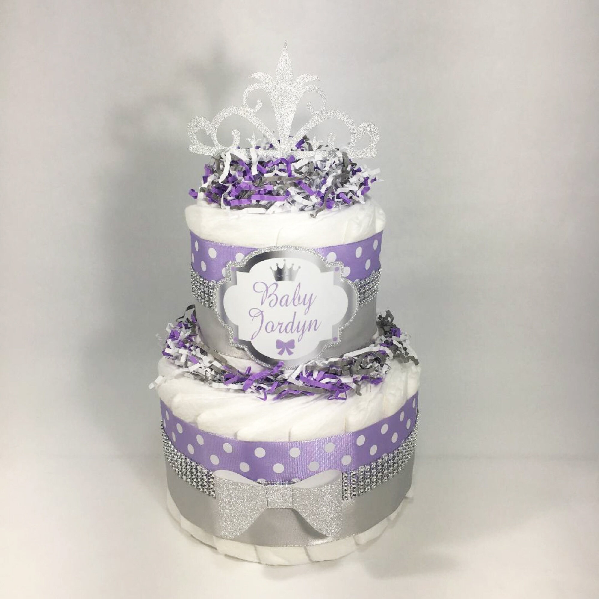Astonishing Lavender And Silver 2 Tier Little Princess Diaper Cake Etsy Funny Birthday Cards Online Aeocydamsfinfo