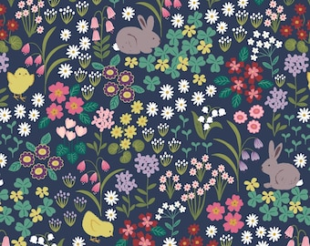 Rabbit Fabric, Bunny and Chick Floral on Dark Blue, Bunny Hop by Lewis and Irene,  By The Half or Full Yard