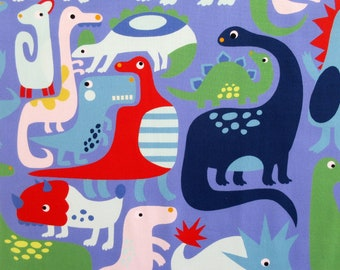 Dinosaur Fabric, Dino-Mite in Purple by Alexander Henry, By the Yard