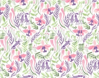 Fabric, Orchids on White, Pink Paradise, Dear Stella, Rae Ritchie, By The Yard
