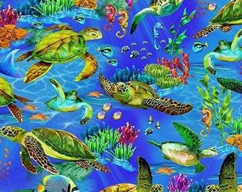 Fabric, Sea Turtles in Ocean Blue, Underwater Sea Life, Timeless Treasures, By the Half or Full Yard