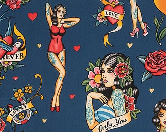 Fabric, Dont Gamble With Love in Blue, Alexander Henry Tattoo Pin Up Girls, By the Yard