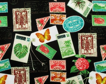 Fabric Postage Stamps From Paradise On Black Windham Fabrics By The Half Or Full Yard