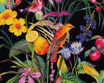 Bird Fabric, Rainbow Rainforest Black by Alexander Henry, By The Yard