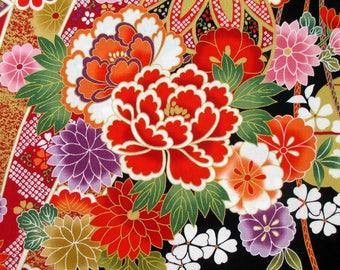 Fabric,  Gilded Botan, Black, Japanese Floral, Alexander Henry Asian Indochine, Last One Yard