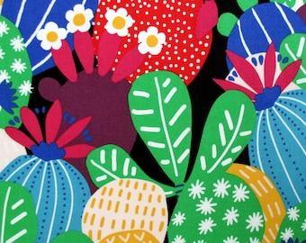 Fabric, Desert Bloom, Black Bright, Cactus Plants, Alexander Henry Fabric, Large Cacti Succulents, Last One Yard