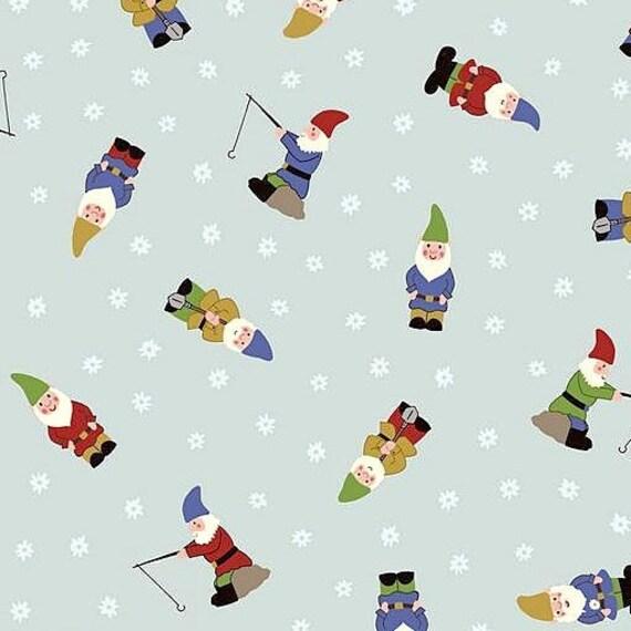 Tissu, nains de jardin sur fond bleu pâle, mamies jardin, Lewis et Irène,  la moitié ou pleine Cour