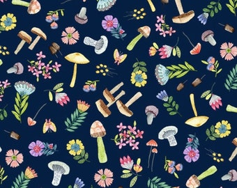 Mushroom Fabric, Woodland Whimsy in Navy, Be Kind to Everything that Grows by Michael Miller, By The Half and Full Yard