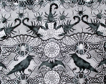 Fabric, Wicked Lace, Black and White, Halloween, Scorpions, Raven, Bats, Spiders, Timeless Treasures, By the Yard