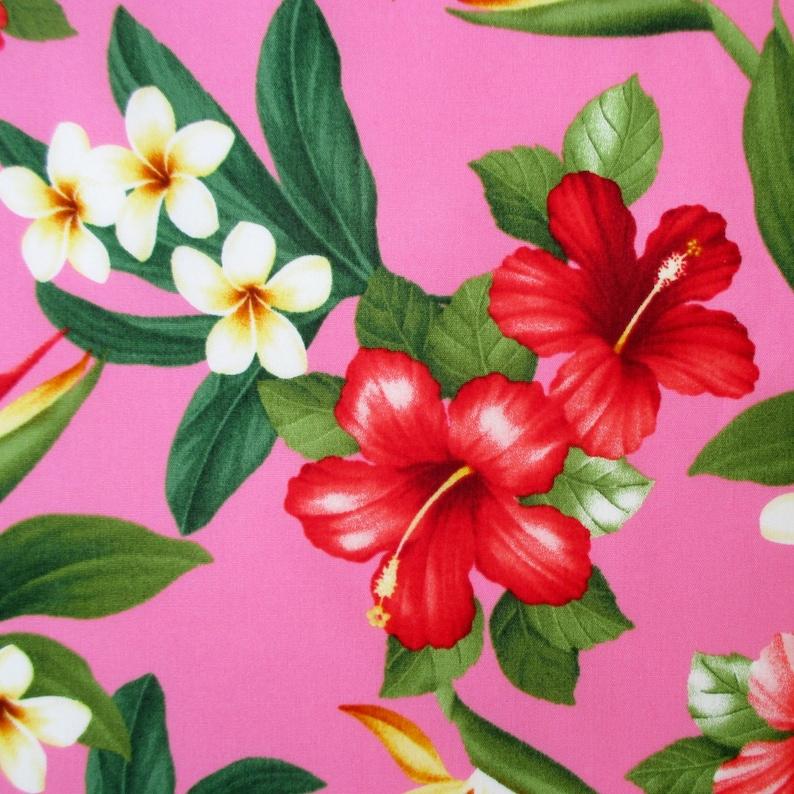 Fabric Mahalo Floral Pink Hibiscus Hawaiian Tropical Etsy