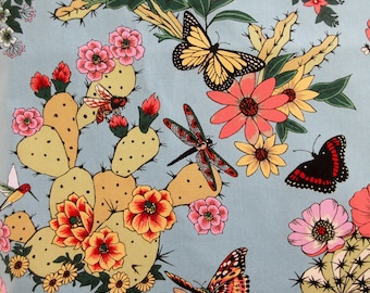 Fabric, Hacienda Cactus Chambray by Alexander Henry, By The Yard