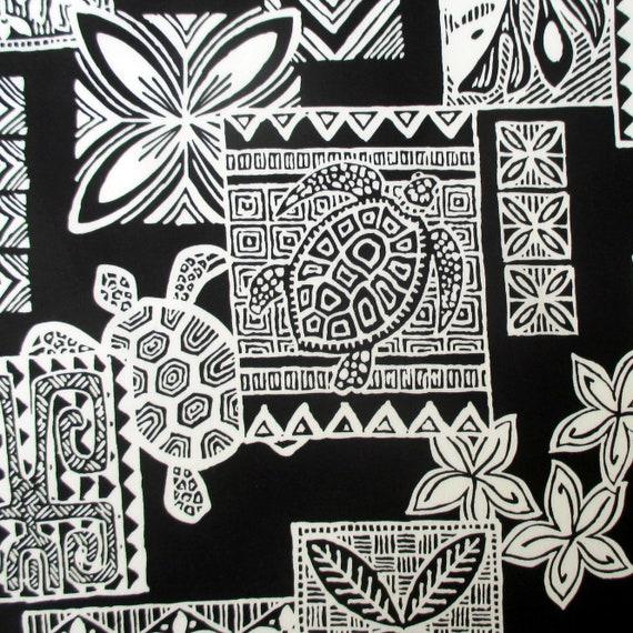 Fabric Hawaiian Sea Turtle Honu Tattoo Blocks In Black Etsy