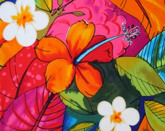 Fabric, Bebel in Multi Brights, Tropical Hibiscus Hawaiian Fabric, Alexander Henry, By the Half and Full Yard