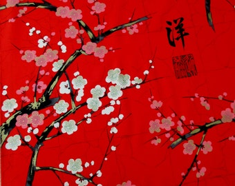 Fabric, Golden Garden in Red, Japanese Blossoms, Alexander Henry, By the Half or Full Yard