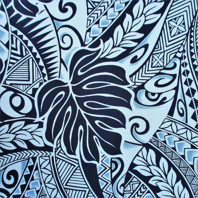 Fabric, Polynesian Tattoo Tapa Designs in Blue, Monstera Leaves, Hawaiian  Tropical, By The Yard