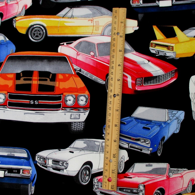 Fabric Classic Cars on Black By The Yard Alexander Henry Fabric Pure Muscle Cars