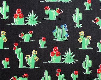 Fabric, South of the Border, Retro Cactus on Black, Southwest, Windham Fabrics,  By The Yard