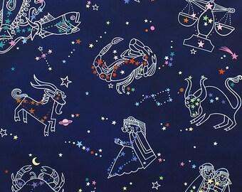 Fabric, Constellations, Alexander Henry Navy Blue Fabric, Last One Yard