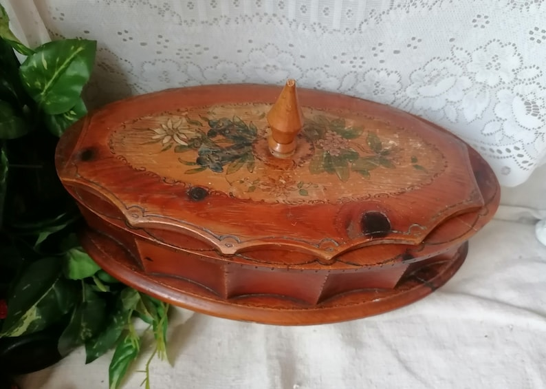 bowl hand painted vintage shabby chic traditional Folklore nut bowl urban decor gift idea Oval mid century wood box storage