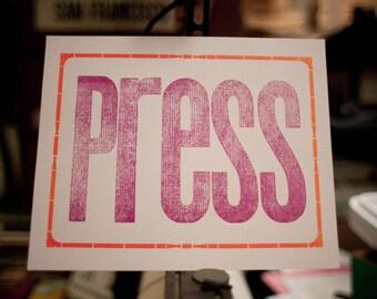 "Handmade Letterpress ""PRESS"" Hand-Pulled Print"