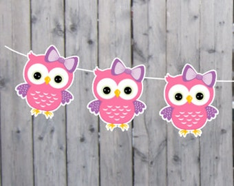 Owl Garland, Owl Banner, Owl Nursery Decoration, Owl Party, Owl Baby Shower, Owl Decorations