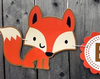 Fox Banner, Woodland Banner, Fox Garland, Woodland Garland, Fox Decorations, Fox Nursery, Photo Prop