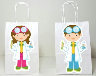 Science Goody Bags, Scientist Goody Bags, Mad Scientist Favor Bags, Mad Scientist Gift Bags, Mad Scientist Birthday, Science Goody Bags
