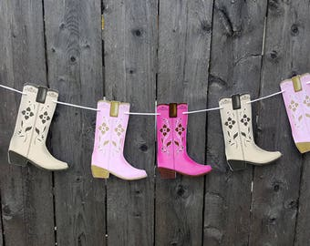 Cowgirl Boot Garland Banner Birthday Party Decorations