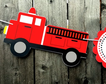 Firetruck Birthday Banner - Fireman Party Banner - Firefighter Birthday Banner - Firetruck Banner - 3D
