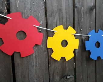 Gears Garland, Gears Banner, Gears Party Banner, Robot Banner, Robot Garland, Robot Banner