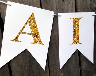 Birthday Banner, Party Banner, Personalized Name Banner, Gold and White Banner, Gold Glitter Banner, Happy Birthday Banner, Bachelorette