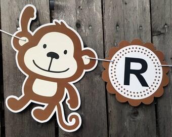 Monkey Banner, Monkey Birthday Banner, Monkey Baby Shower Banner, Monkey Nursery Sign, Monkey Decorations
