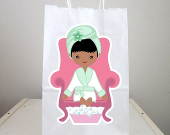 Spa Goody Bags, Spa Favor Bags, Spa Party Bags, Spa Birthday Party, Spa Favors, Pedicure Goody Bags, African American - 82616954P