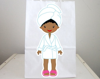 Spa Party, Spa Goody Bags, Spa Favor Bags, Spa Party Bags, Spa Birthday Party, Spa Favors, Pedicure Goody Bags, African American (6317154B)