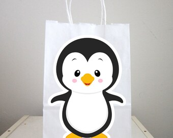 Set of 10 Assorted Sleepy Penguins with Moon and Stars Baby Shower or Birthday Party Favor Bags Item 2113A