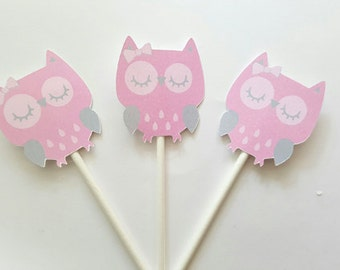 Owl Cupcake Toppers - Pink and Grey Owl Cupcake Toppers - 8516928A