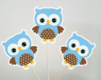 Owl Centerpieces, Blue Owl Centerpieces, Owl Birthday Centerpieces, Owl Baby Shower Centerpieces (41017153A)