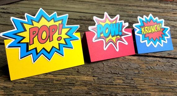 Superhero Tent Cards Superhero Foot Tent Cards Superhero