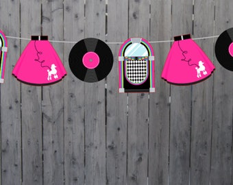 50's Party Garland, 50's Party Banner, Fifties Banner, Fifties Garland, 50's Birthday Banner, 50's Birthday Garland, 50's Party Decorations
