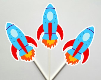 Space Party Cupcake Toppers, Rocket Ship Cupcake Toppers
