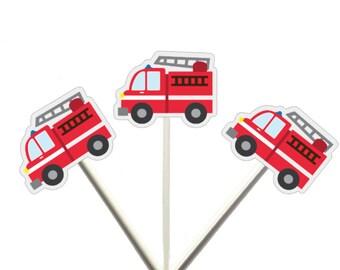 Firetruck Cupcake Toppers, Firetruck With Ladder 62319406P