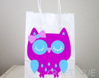 Owl Goody Bags, Owl Favor Bags, Owl Party Bags, Owl Party Favors, Owl Purple and Turquoise