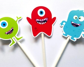 Monster Cupcake Toppers, Monster Birthday Party Cupcake Toppers, Monster Party Cupcake Toppers