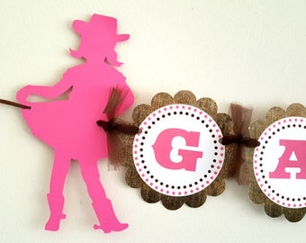 Cowgirl Banner - Cowgirl Birthday Banner - Cowgirl Baby Shower Banner - Cowgirl Decorations, Cowgirl Garland