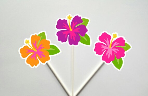 Hibiscus Cupcake Toppers Beach Cupcake Toppers Beach Party