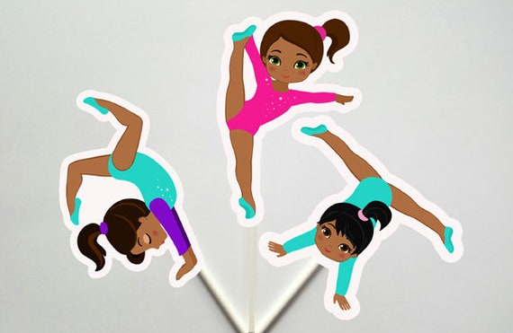 Gymnastic Unicorn Cupcake Toppers Gymnast Cupcake Printable Gymnastics African American Gymnastics Birthday Instant Gymnastics Party