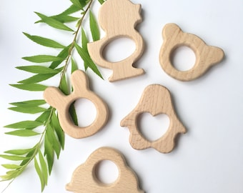 Eco-Friendly Natural Wooden Teether Toy, Baby Teether toy, unfinished wood, Organic,