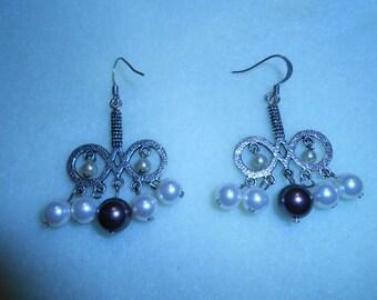 Silver Infinity and Swarovski Pearl Dangle Earrings