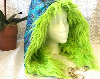 Spirit Hood - reversible with chain, lime green fuzzy faux fur; teal, green gold swirls