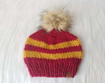 e6d059c7 Chunky Knit Striped Beanie Adult // Gryffindor Harry Potter Chunky Hat Faux  Fur Pompom // Wool Winter Hat Toque //Hats for Kids Women's Hats